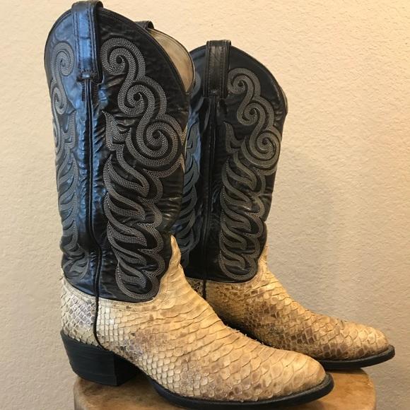 ed317eeb37c Tony Lama Men's Vintage Snakeskin Cowboy Boots 8.5
